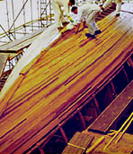 Boat building cold moulded planked strip wood